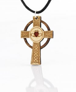 Holz-Schmuckanhänger Celtic Claddagh Cross