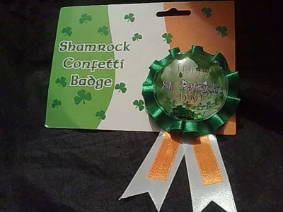 Shamrock Confetti Badge
