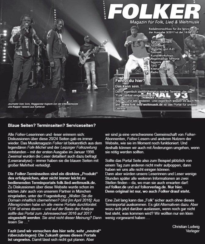 1167 Blaue Termin- und Serviceseiten des Musikmagazins Folker 2.17, 1.3.-31.12.17