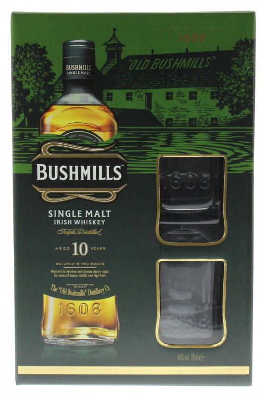 bushmills single malt irish whiskey in der geschenkpackung mit 2 gl sern irish. Black Bedroom Furniture Sets. Home Design Ideas