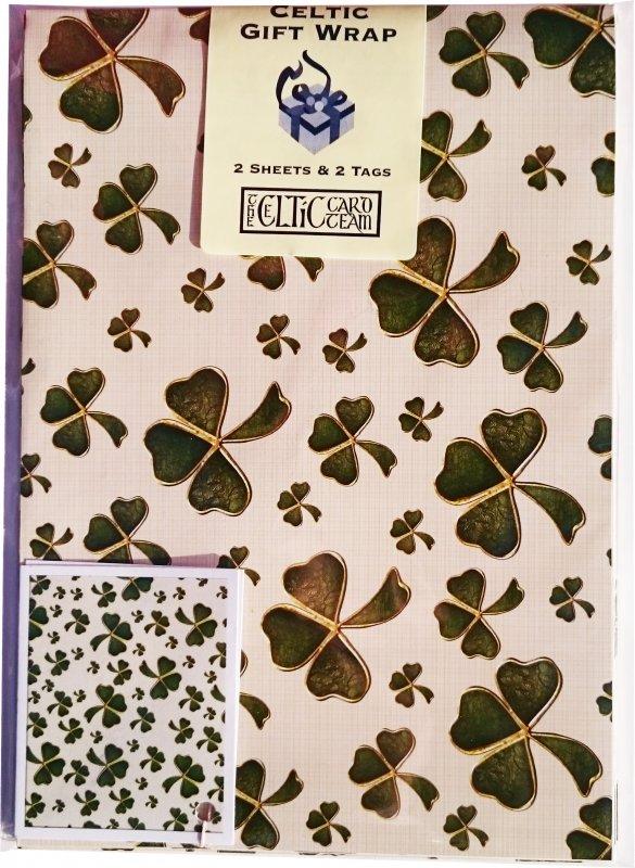 Geschenkpapier Shamrock Muster 2 Sheets