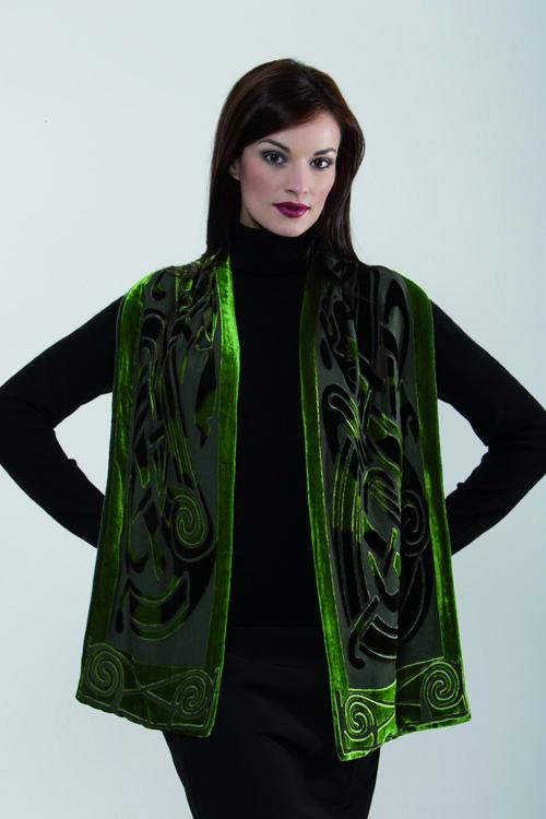 Feiner Velour Schal (Grün)