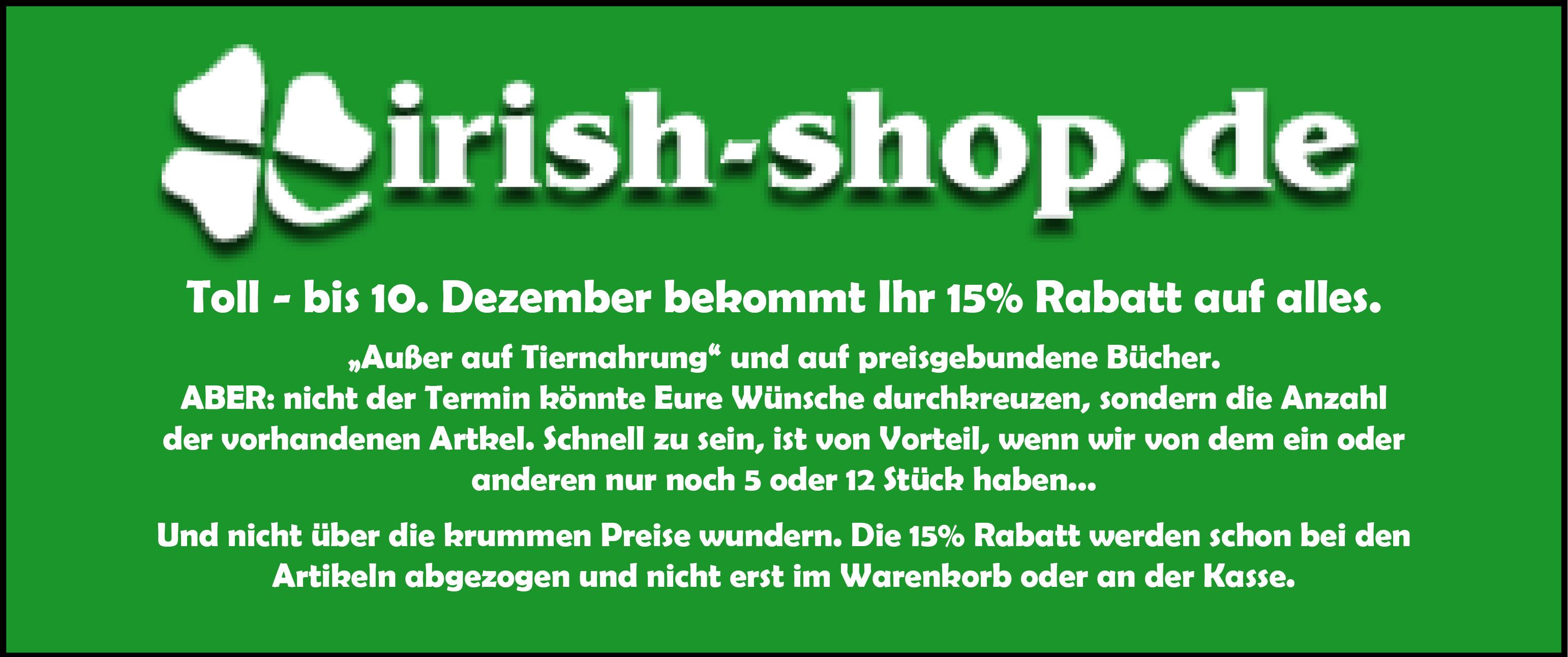 Banner - 15% Rabatt Irish-Shop 2018