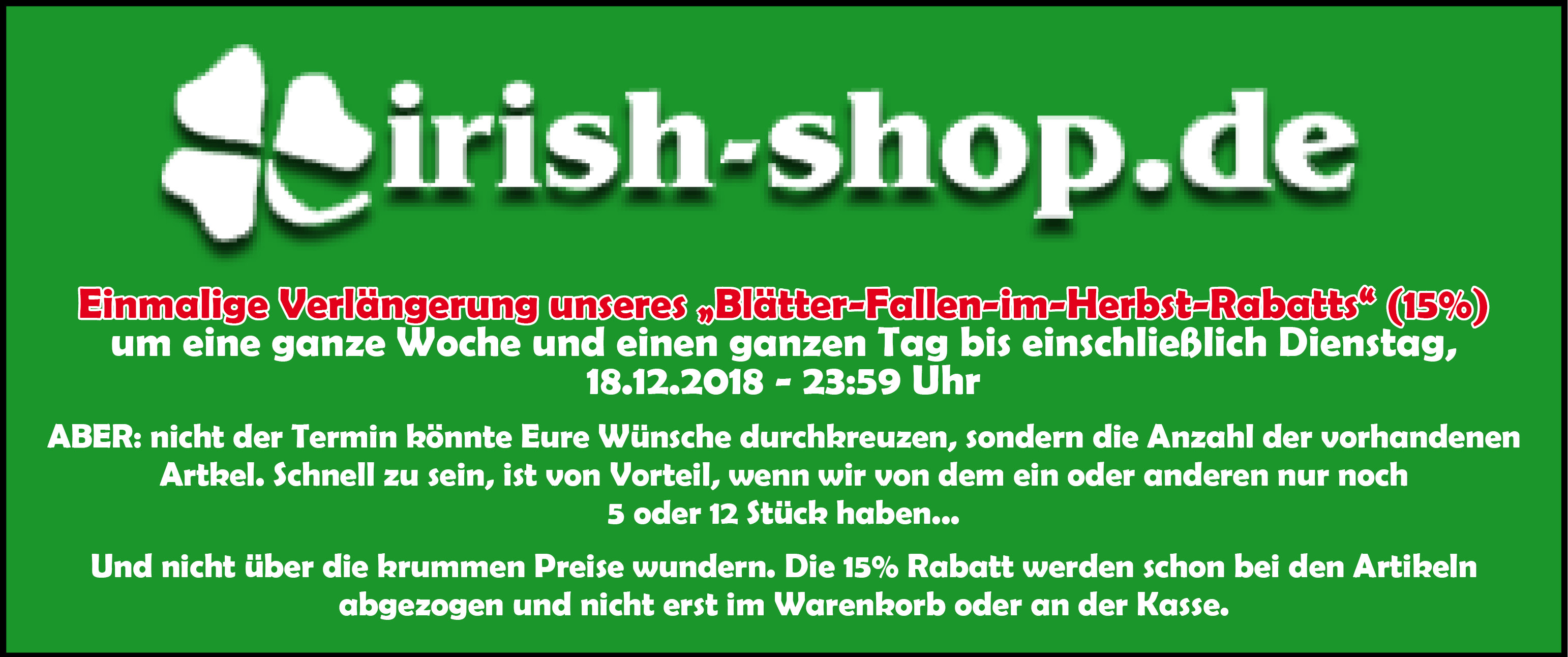 Banner - 15% Rabatt Irish-Shop 2018